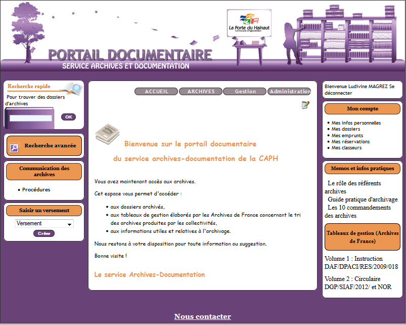 Page accueil fonds archives