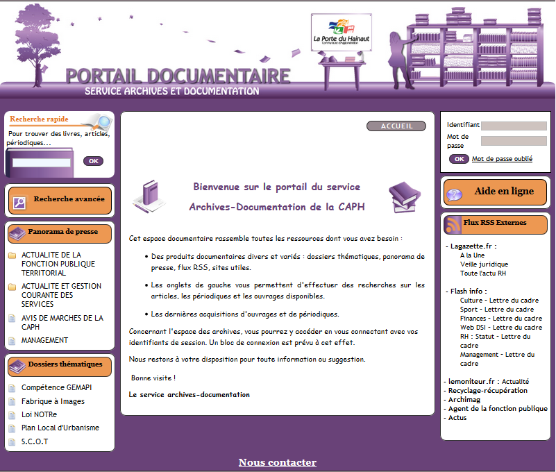 Page d'accueil du fonds-documentaire